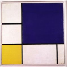 Piet Mondrian, Bleu, Blanc et Jaune, 1932    Oil paint on canvas. Piet Mondrian created timeless art that revealed the eternal structure of existence. He stripped painting down to its essentials: a grid of black lines framing rectangles of primary colors on a white ground. Collection Denver Art Museum Gift of Charles Francis Hendrie Memorial.