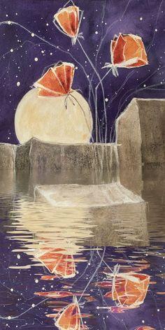 Christine Nöhmeier: Zwischen Wasser und Stein - Roter Mohn - Leinwandbild - Poster