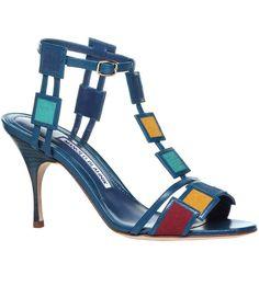 Manolo Blahnik Spring 2016 leather & fabric colorful sandal.