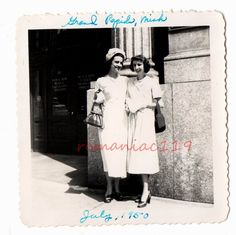 Vintage Photo GRAND Rapids MI Pretty Girls Old Michigan MUTUAL HOME FS&L BANK