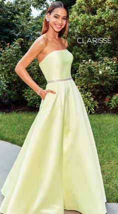 Clarisse 3739 The fabric in this Clarisse Prom style is Mikado Classy Prom Dresses, Pageant Dresses, Strapless Dress Formal, Satin Dresses, Full Figure Dress, Elegant Ball Gowns, Embellished Belt, Prom Dress Shopping, Perfect Prom Dress