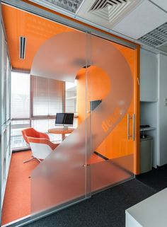 Genband Offices -Israel Communication company I like the frosted number on the glass doors. Creative Office Space, Office Space Design, Small Room Design, Workplace Design, Office Interior Design, Office Designs, Corporate Interiors, Office Interiors, Corporate Offices