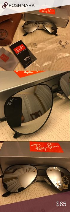 Rayban Aviator Mirror Lens Everything still NEW! Size 58mm Model RB3025 aviators reflective lens. Includes carrying case, cleaning cloth, booklet, and box. Will ship super FAST!! Any questions feel free to ask. Ray-Ban Accessories Sunglasses