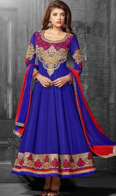 Portray a look of muse of solemn beauty draped in this blue georgette embroidered Anarkali churidar suit. You'll see some intriguing patterns completed with butta, lace, patch and resham work. #TraditionalDesignOfRoyalBlueAnarkaliChuridarDress