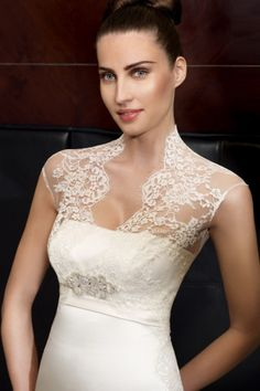 Satin Vintage Beading Court Train Empire A-line Wedding Dress - Shedressing.com