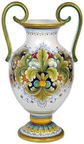 Italian Table Vase - Acanthus Decorative Accessories by Sorella Luna, Inc: Italian Majolica Table Vase - acanthus style - in high x 10 in diameter Glazes For Pottery, Ceramic Pottery, Pottery Art, Pottery Painting, Ceramic Painting, Glass Ceramic, Ceramic Art, Ceramic Table, Tuile
