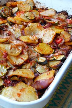 Briam (Greek Baked Zucchini and Potatoes) Recipe - The Best Greek Recipes Easy Appetizer Recipes, Veggie Recipes, Vegetarian Recipes, Cooking Recipes, Healthy Recipes, Greek Food Recipes, Best Potato Recipes, Roasted Vegetable Recipes, Dinner Recipes