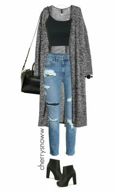 Grunge chic ripped jeans and long cardigan outfit by .- Grunge chic zerrissene Jeans und langes Cardigan-Outfit von cherrysnoww gefallen Grunge chic torn jeans and long cardigan outfit from cherrysnoww liked … – - Teen Fashion Outfits, Mode Outfits, Look Fashion, Outfits For Teens, Autumn Fashion, Girl Outfits, Preteen Fashion, Jeans Fashion, Fashion Ideas