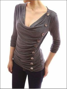 ad6fb8d880 Apparel  Patty Women Cowl Neck Button Embellished Ruched Blouse Top (Gray L)