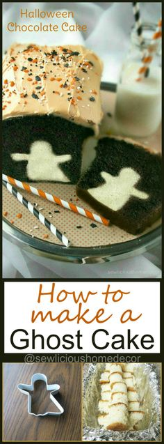 Ghost Chocolate Cake How To Make A Halloween Ghost Cake. How To Make A Halloween Ghost Cake. Halloween Desserts, Halloween Chocolate Cake, Chocolat Halloween, Hallowen Food, Halloween Torte, Halloween Backen, Recetas Halloween, Halloween Goodies, Halloween Food For Party