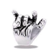 DaVinci Beads Silver Hand - I Love You Sign