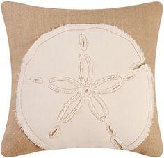 Burlap Embroidered Sand Dollar 18 X 18 Inch Coastal Decor Accent Throw Pillow