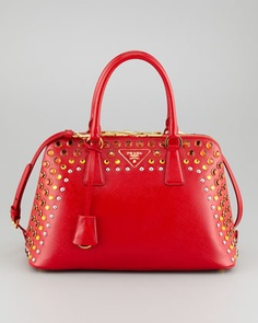 Saffiano Crystal Studded Promenade Bag Red Orange By Prada At Neiman Marcus