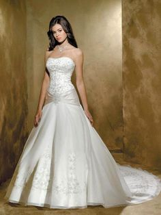 A-line Sweetheart Organza Satin Court Train Embroidery Wedding Dresses at Msdressy