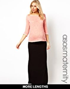 Image 1 ofASOS Maternity Exclusive Maxi Skirt with Foldover Top
