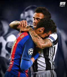 Dani Alves and Neymar Jr. Respect. BySport Juventus, Barcelona, football, calcio, fútbol, Champions League.