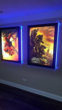 This is a large frame poster box with a colored LED halo around the back of the frames. Comes with White replaceable LED tubes inside box that back light the poster. Comes with traditional snap…More Movie Theater Rooms, Home Theater Setup, Best Home Theater, Home Theater Speakers, Home Theater Seating, Cinema Room, Home Theater Design, Home Theater Projectors, Movie Rooms