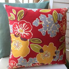 Decorative Pillow Red Yellow Blue Modern Floral 12 x 16 - Throw Pillow. $24.00, via Etsy.