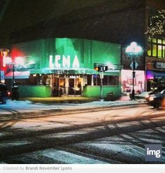 'One of my favorite restaurants in Ann Arbor.  Lena, in the snow. Ann Arbor, Michigan.