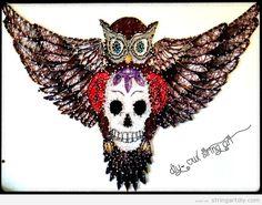 String Art owl and skull
