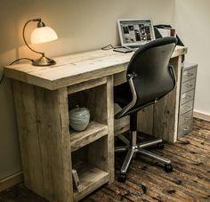 Chunky Rustic Single Pedestal Desk  Genuine by BroganAndFrench