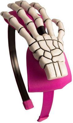 Kreepsville 666 - Skeleton Hand Alice Pink/White Headband