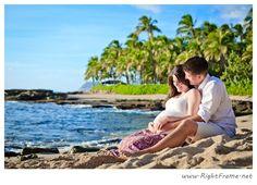 http://www.rightframe.net – Oahu maternity photography at Secret Beach, Ko'Olina. Hawaii, Honolulu, family, photography, beach, portrait, portraits, ideas, idea, waikiki, hawaiian, couple,  photo, pictures, photos, pose, poses, posing, session, bellows, pregnancy, Belly Bump, blue, ocean, water, ko olina, koolina, sunset.