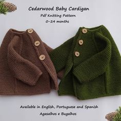 PDF Knitting Pattern Cedarwood Baby Cardigan and Romper Set | Etsy