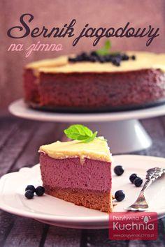 #Sernik jagodowy na zimno, proste i pyszne #ciasto bez pieczenia, a na spodzie #biszkopt  http://pozytywnakuchnia.pl/sernik-jagodowy-na-zimno/   #jagody #przepis #kuchnia