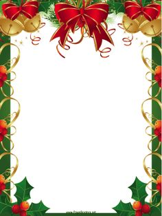 This free, printable Christmas border features festive red ribbons, golden bells and winter holly. Free to download and print.