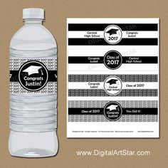 Personalized Black and White Graduation Water Bottle Labels