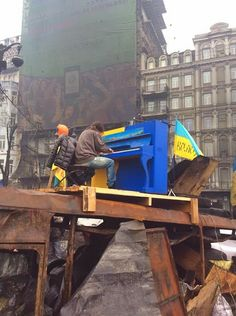 Piano amidst the protests in Kyiv, Ukraine.
