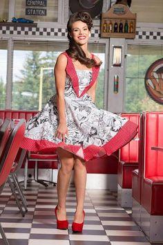 Rockabilly Comic Dress: vintage style / pin-up / rockabilly comic print dress by TiCCi Rockabilly Clothing Rockabilly Moda, Rockabilly Hair, Rockabilly Outfits, Rockabilly Fashion, Retro Fashion, Vintage Fashion, Rockabilly Clothing, Rockabilly Style, Gothic Fashion
