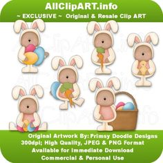 Easter Bears 1 - Clip Art by Primsy Doodle Designs