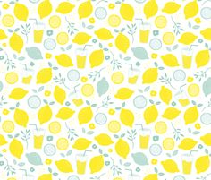 Hot summer lime and lemon fruit colorful lemonade illustration kitchen food print in yellow and mint  - fabric and wallpaper design by Little Smilemakers Studio at Spoonflower
