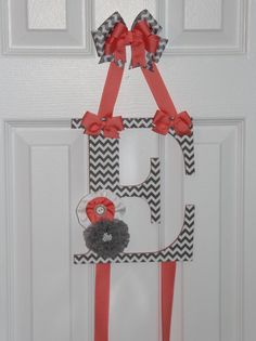 Coral and Grey Chevron Shabby Chic Letter Bow by ruffles2ribbons, $18.00