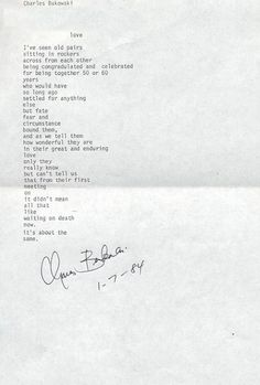 Charles Bukowski, American Author ~