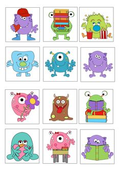 loto des monstres planche 2 ( à usage personnel uniquement) Doodle Monster, Monster Art, Cute Monsters, Little Monsters, Monster Theme Classroom, Monster Clipart, Theme Halloween, Monster Birthday Parties, Class Decoration