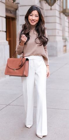 #winter #outfits brown longsleeve and white dress pants with black leather tote bag