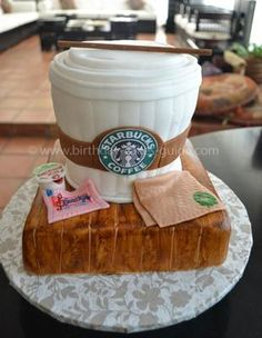 I think this cake was made for me!on a wood block! I think this cake was made for me!on a wood block! Crazy Cakes, Fancy Cakes, Pink Cakes, 3d Cakes, Unique Cakes, Creative Cakes, Starbucks Cake Pops, Starbucks Drinks, Starbucks Coffee