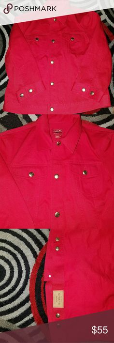 ****FLASH SALE***Chaps red jeans jacket Gold buttons Chaps Jackets & Coats Jean Jackets
