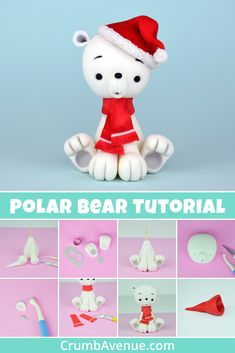 Polar Bear Cake Topper Full FREE step by step tutorial is available on my website :] /fondant, Christmas Cake Topper, Christmas Cake Decorations, Fondant Decorations, Christmas Crafts, Easy Cake Decorating, Cake Decorating Techniques, Cake Decorating Tutorials, Decorating Ideas, Cake Topper Tutorial