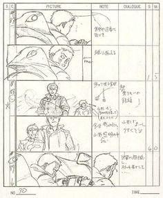 Pages from Katsuhiro Otomo's storyboard's for Akira