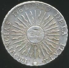 ARGENTINA PROVINCIAS UNIDAS 8 EIGHT REALES SUNFACE SILVER COIN 1815 F. NICE!!!!!