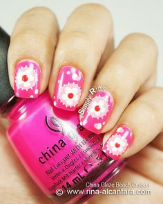 Adorable + instructions! Flower Patches Nail Art Design on China Glaze Beach Cruise-R