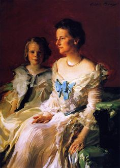 Mrs. Theodore Roosevelt and Daughter Ethel by Cecilia Beaux(1855-1942)