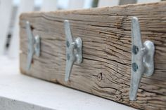 Nautical coat rack with boat cleats made from by DocksideCottage, $39.99
