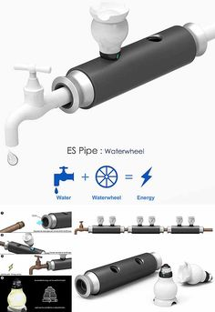 ES Pipe Waterwheel. Miniturbina que acumula luz con tus tuberías