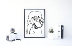 Poodle balck and white minimal print - Poodle art print