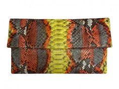 BL100 Multicolor Yellow Python Leather Clutch | Victoria Bosco